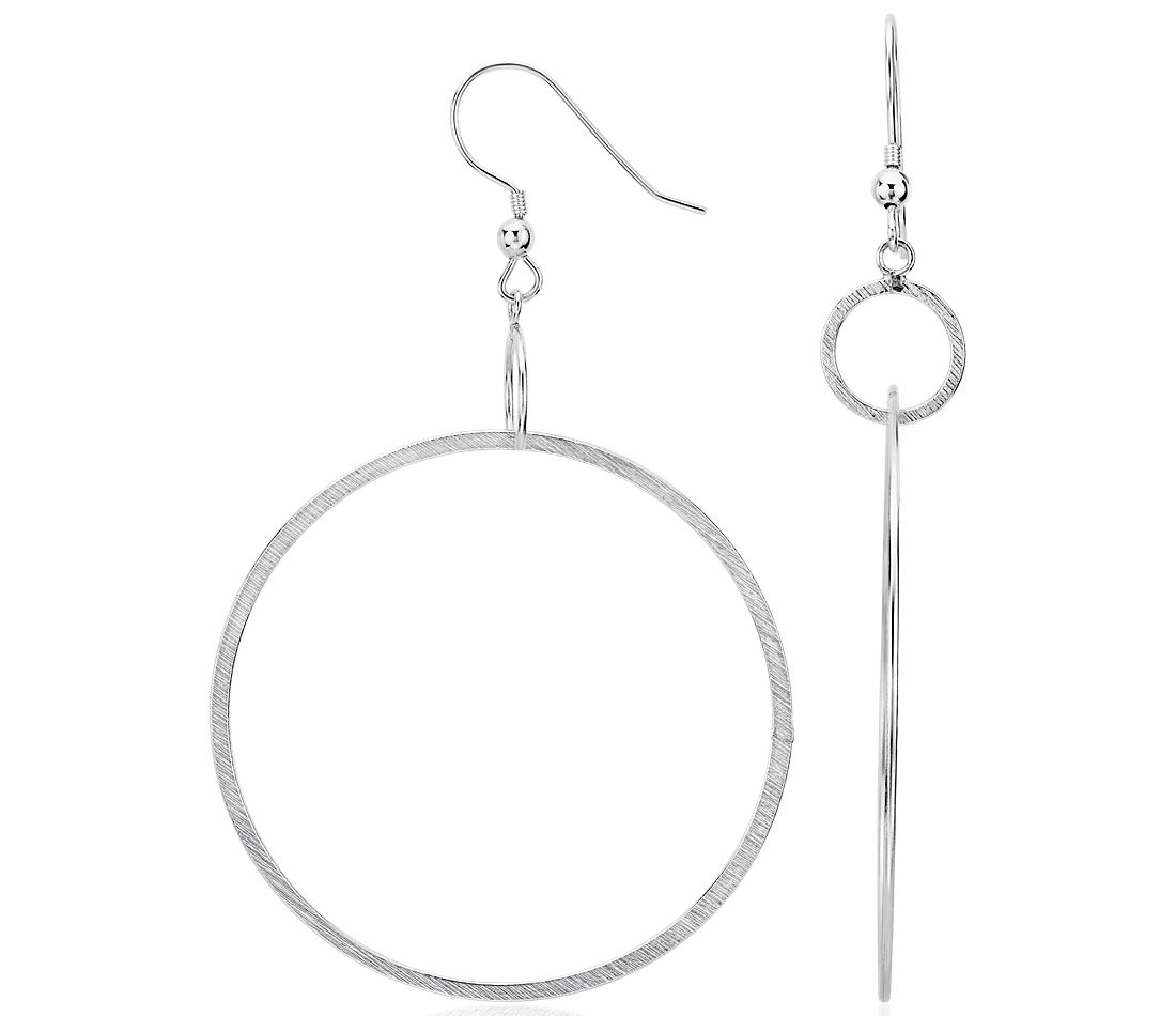 Satin Hoop Earrings in Sterling Silver