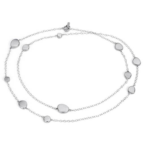 Bree Richey Satin Pebble Necklace in Sterling Silver - 36