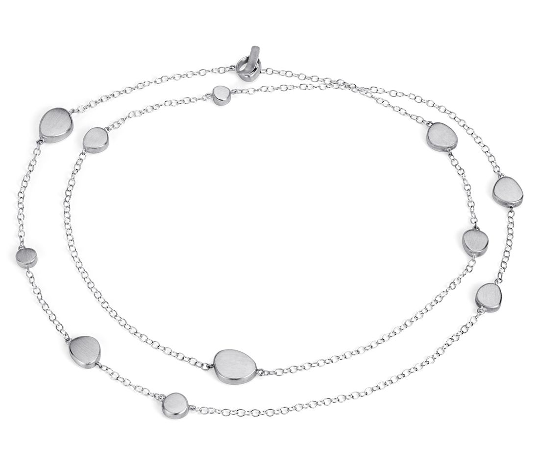 Bree Richey Satin Pebble Necklace in Sterling Silver - 36""