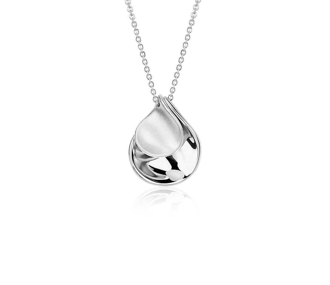 Satin Petal Drop Pendant in Sterling Silver