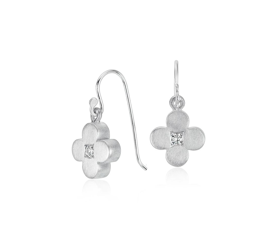 Petite Satin White Sapphire Flower Drop Earrings in Sterling Silver