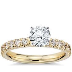 Scalloped Pave Diamond Engagement Ring in 18k Yellow Gold
