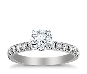 Scalloped Pavé Diamond Engagement Ring in Platinum