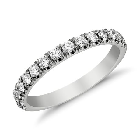 Bague en diamants sertis pavés à bords festonnés en Or blanc 18 ct (1/2 carat, poids total)