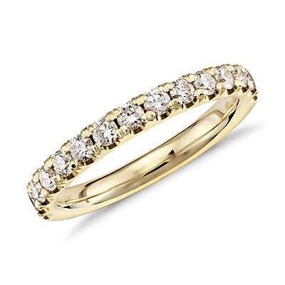 Bague en diamants sertis pavé à bords festonnés en or jaune 18 carats