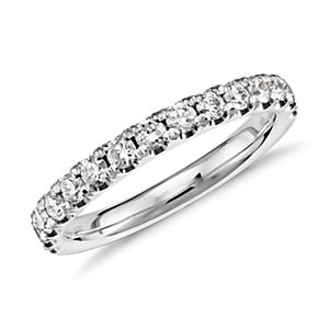 Scalloped Pavé Diamond Ring in Platinum