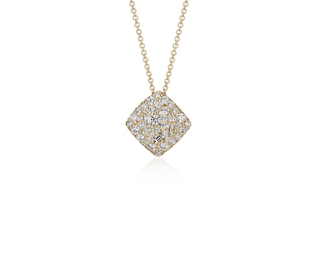 Scattered Cluster Diamond Pendant in 14k Yellow Gold