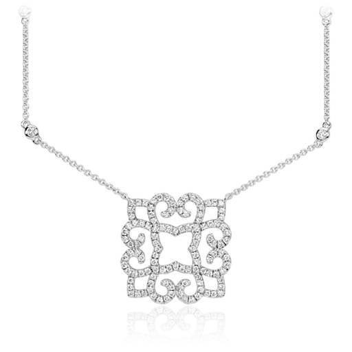 Collier en diamants volute en or blanc 14 carats