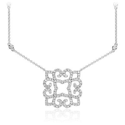 Collar de diamantes enrollado en oro blanco de 14k