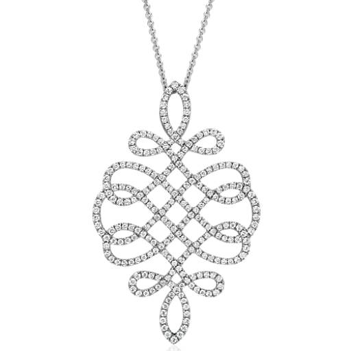 Large Diamond Scroll Necklace in 18k White Gold