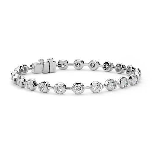 Semi-Bezel Diamond Bracelet in 14K White Gold