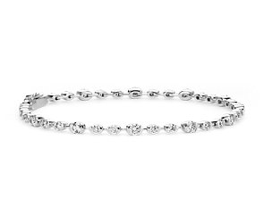 Semi-Bezel Diamond Bracelet in 18K White Gold
