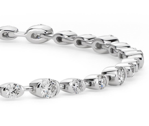 Bracelet diamants demi-sertis en or blanc 18carats