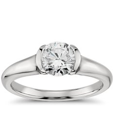 Semi-Bezel Solitaire Engagement Ring in Platinum