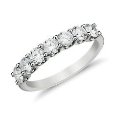 Bague en diamant sept pierres griffe en U en Or blanc 14 ct (1 carat, poids total)