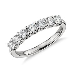Bague en diamant sept pierres griffe en U en Platine (1 ct tw)