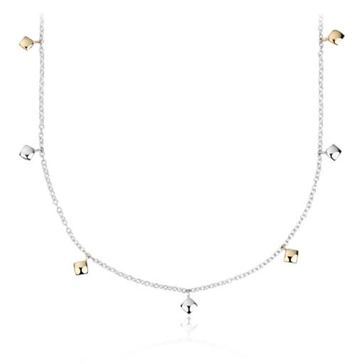NEW Angela George Shimmer Station Necklace in 18k Yellow Gold & Sterling Silver