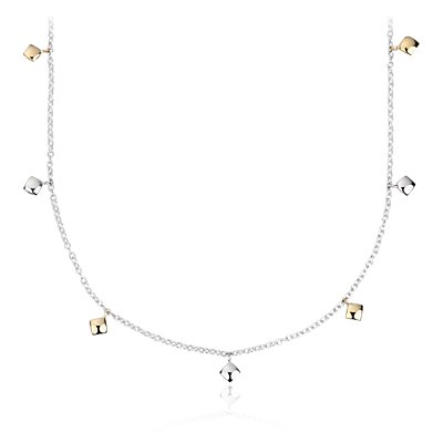 Angela George Shimmer Station Necklace in 18k Yellow Gold and Sterling Silver