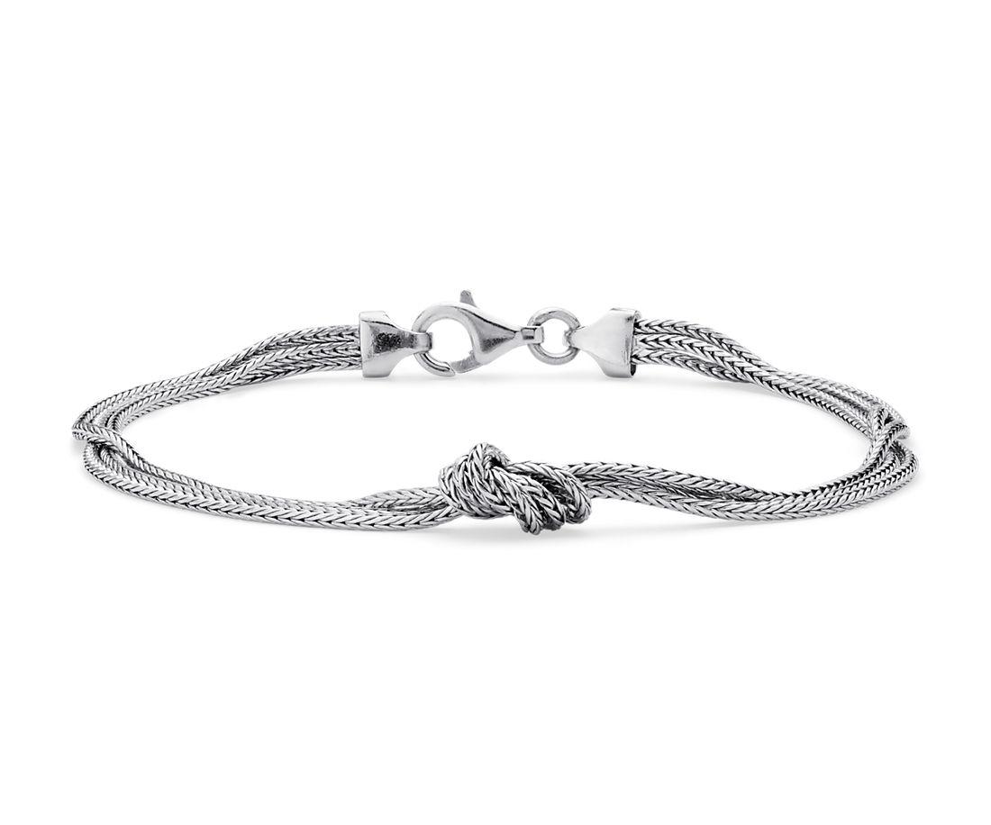 Bracelet nœud soyeux en argent sterling