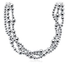 Garland Toursade Bead Necklace in Sterling Silver