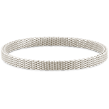 Thin Mesh Bangle Bracelet in Sterling Silver