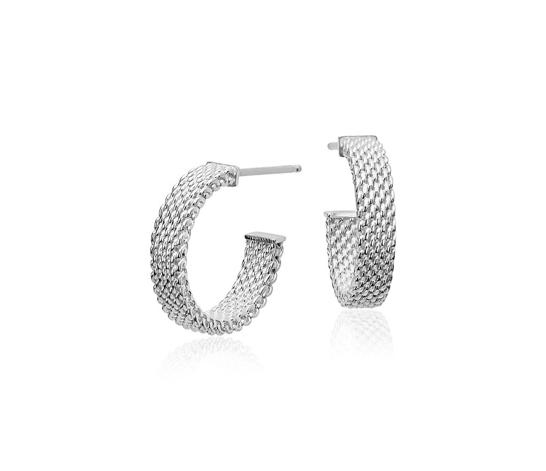 """Mesh Earrings in Sterling Silver with 14k White Gold Posts (5/8"""")"""