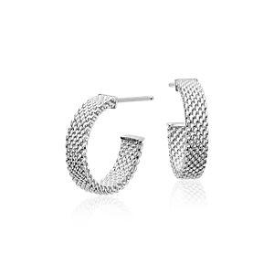 925 纯银网眼耳环配 14k 白金耳针(5/8 英寸)
