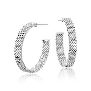 """Mesh Earrings in Sterling Silver with 14k White Gold Posts (7/8"""")"""