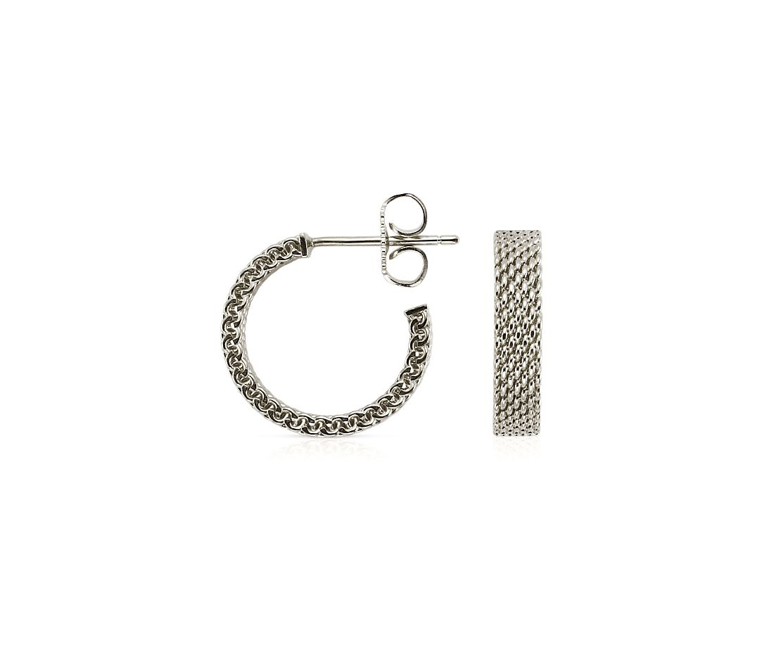"Mesh Earrings in Sterling Silver with 14k White Gold Posts (5/8"")"