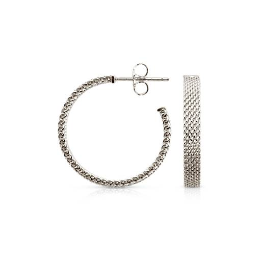 "Mesh Earrings in Sterling Silver with 14k White Gold Posts (7/8"")"