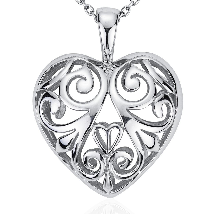 Filigree Heart Pendant in Sterling Silver