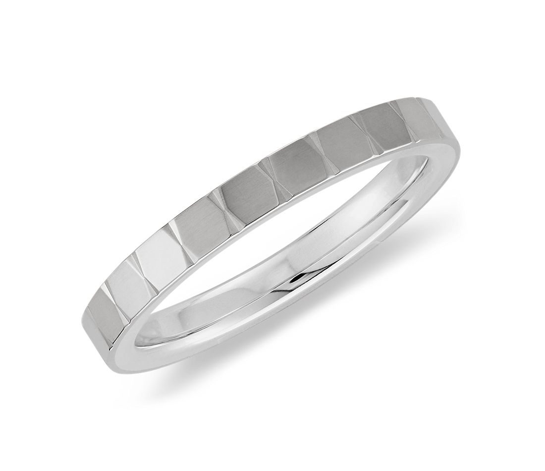 Geometric Ring in Sterling Silver with 14k White Gold