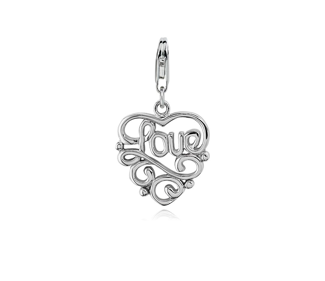 Heart Shaped Love Charm in Sterling Silver