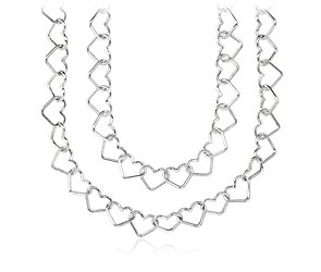 Heart Link Necklace in Sterling Silver  - 36'' Long