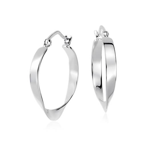 Swirled Hoop Earrings in Sterling Silver (1