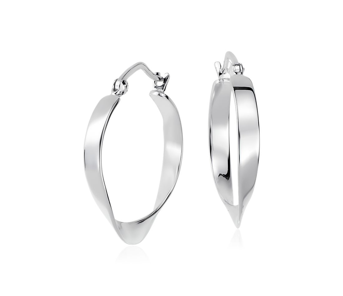 "Swirled Hoop Earrings in Sterling Silver (1"")"