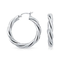 Twisted Hoop Earrings in Sterling Silver