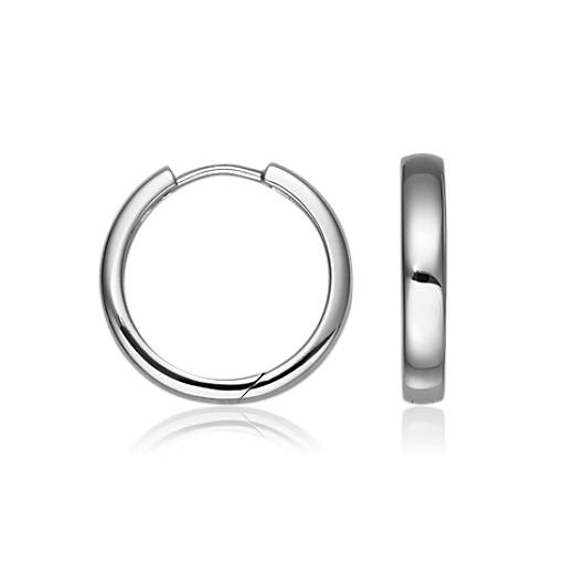 "Hinged Hoop Earrings in Sterling Silver (7/8"")"