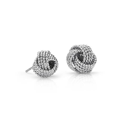 NEW Roped Love Knot Stud Earrings in Sterling Silver