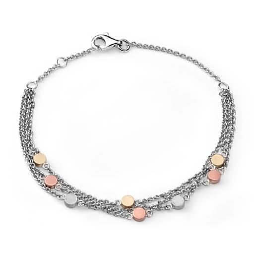 Bracelet trois rangs en argent sterling, Or Jaune et Rose 14carats