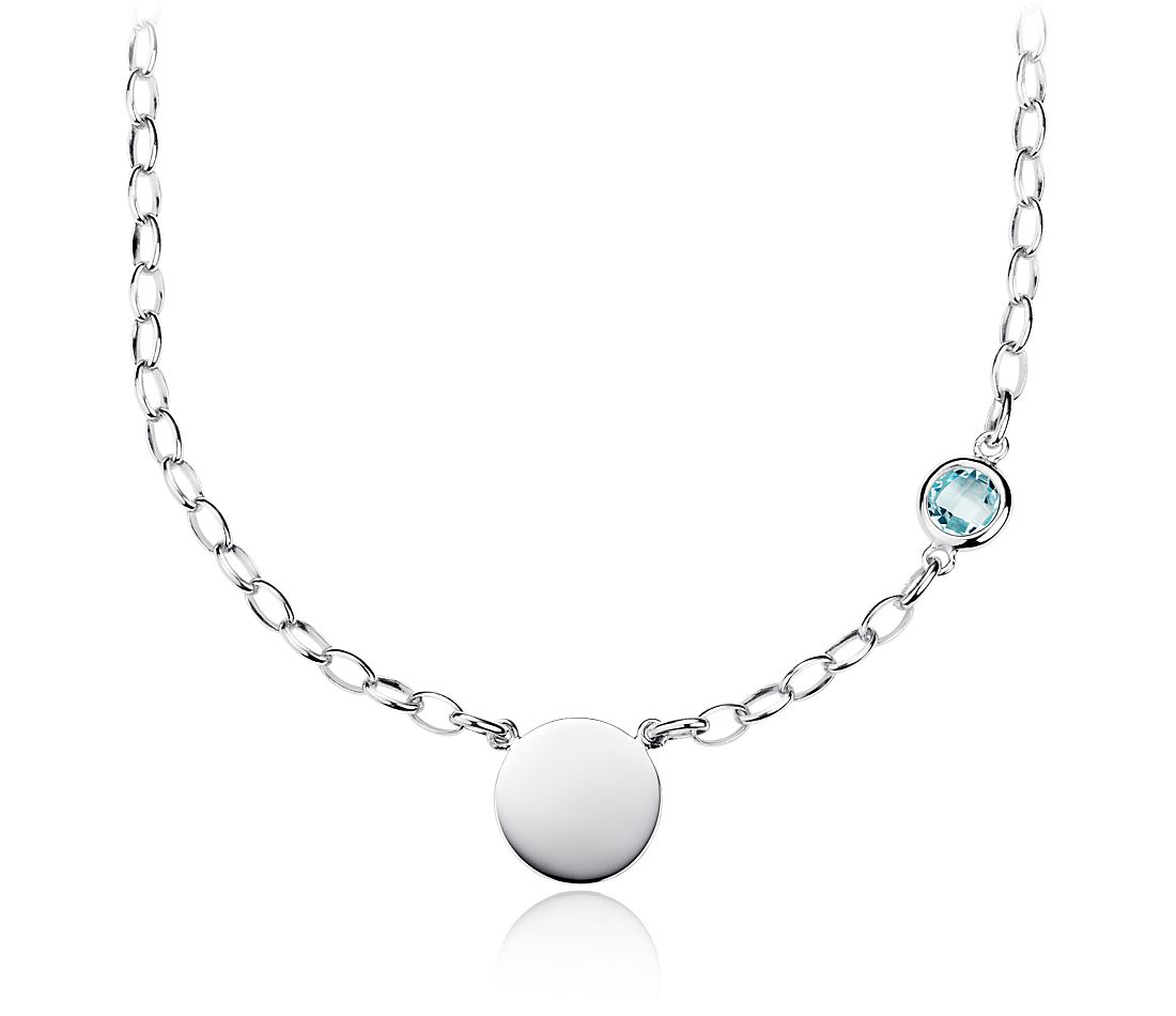 Sky Blue Topaz Birthstone Necklace in Sterling Silver