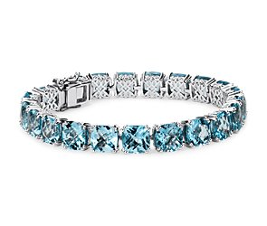 Sky Blue Topaz Cushion Bracelet in Sterling Silver (8mm)