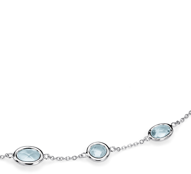 Sky Blue Topaz 5 Stone Stationed Necklace in Sterling Silver