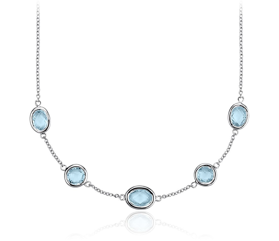 Sky Blue Topaz Stationed Necklace in Sterling Silver