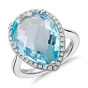 NUEVO. Sky Blue Topaz Elegant Halo Cocktail Ring in plata de ley (18x13mm)
