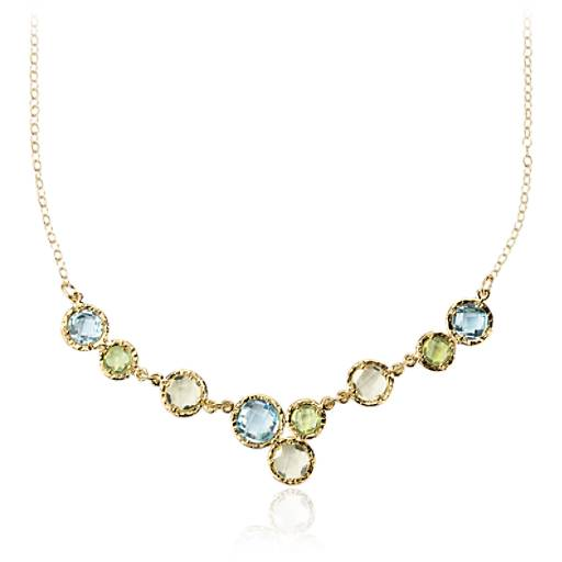 Sky Blue Topaz, Lemon Quartz, and Peridot Bib Necklace in 14k Yellow Gold (6mm)