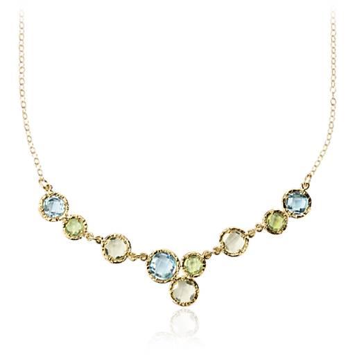 Collier plastron topaze bleu ciel, quartz citron et péridot en or jaune 14carats (6mm)