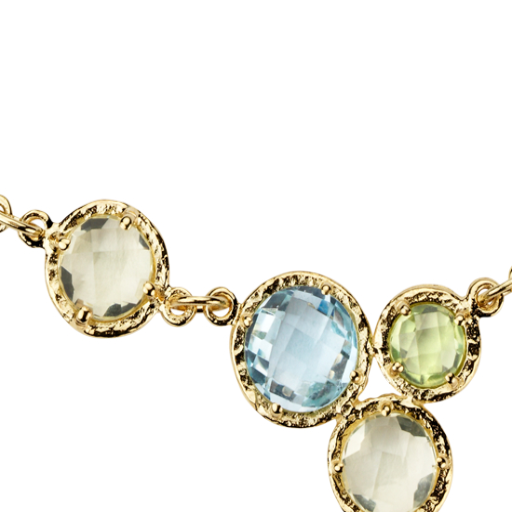 Collar tipo pechera con peridoto, cuarzo amarillo limón y topacio azul cielo en oro amarillo de 14k (6 mm)