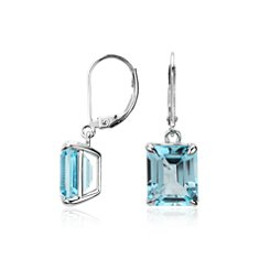 Sky Blue Topaz Rectangular Earrings in Sterling Silver
