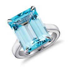 Sky Blue Topaz Rectangular Ring in Sterling Silver